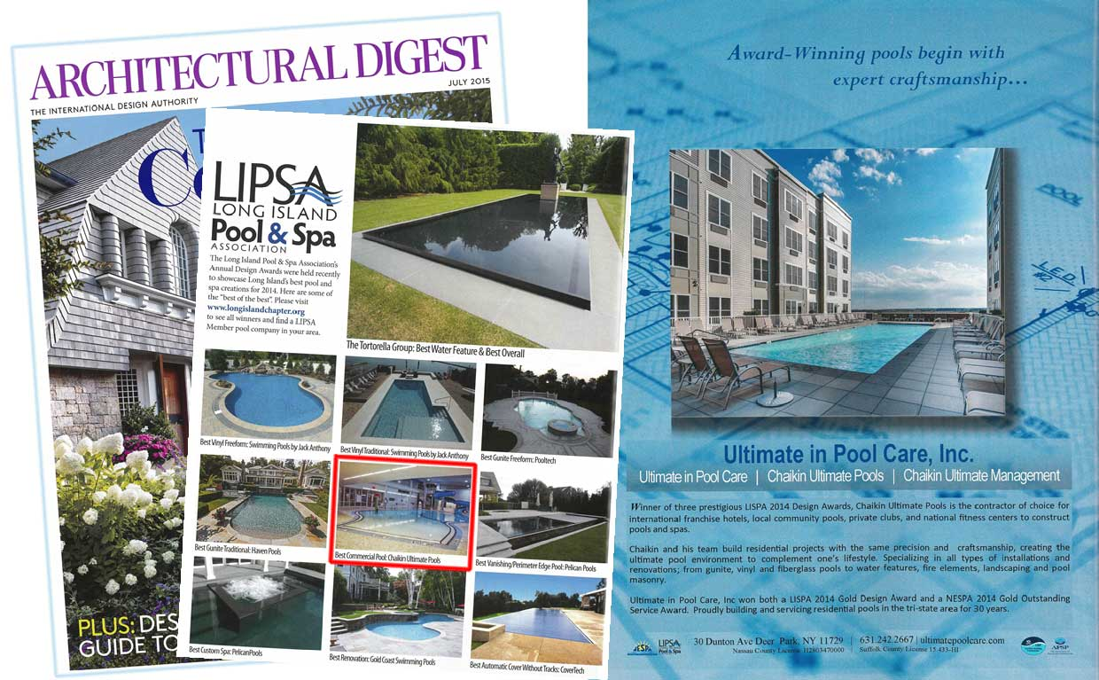 Swimming Pool Construction, as Seen in the July 2015 Issue of Architectural Digest Magazine