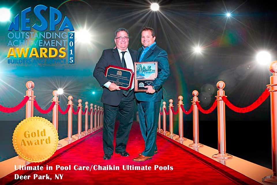 Ed Cohen and Kyle Chaikin in 2015, accepting multiple awards in the Swimming Pool Builders and Service Categories.